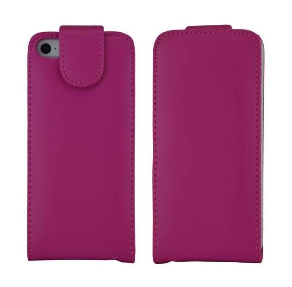 Flip Case iPhone 5/5S Klaphoesje Donker Roze Leer
