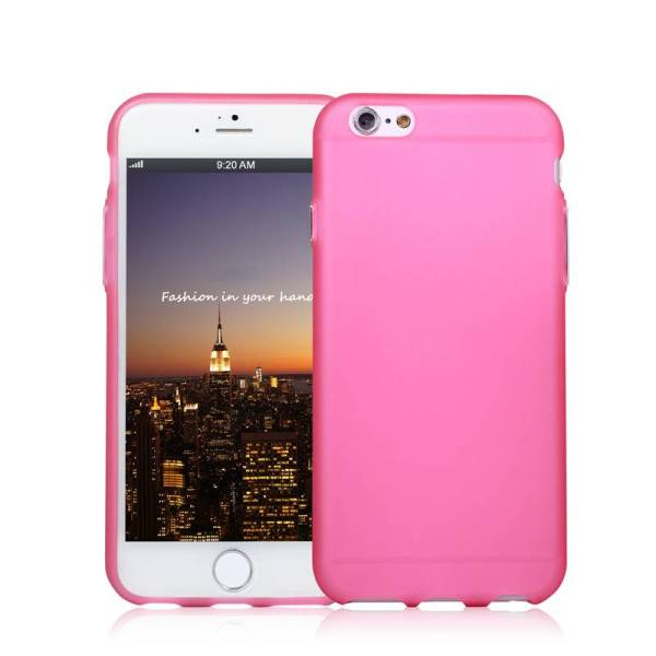 iPhone 6 en 6S Siliconen hoesje roze met chrome knopjes