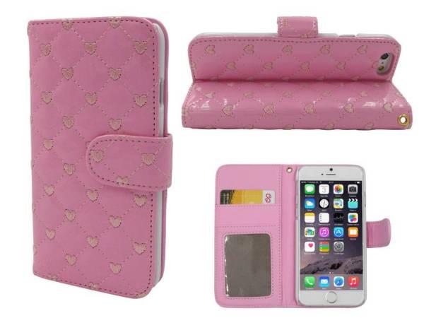 iPhone 6 en 6S Lederen Lak Boek Hoesje Ruitjes Motief Hartjes Roze
