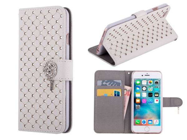 iPhone 6 en 6S Bookcase Hoesje Diamantjes Roos Wit