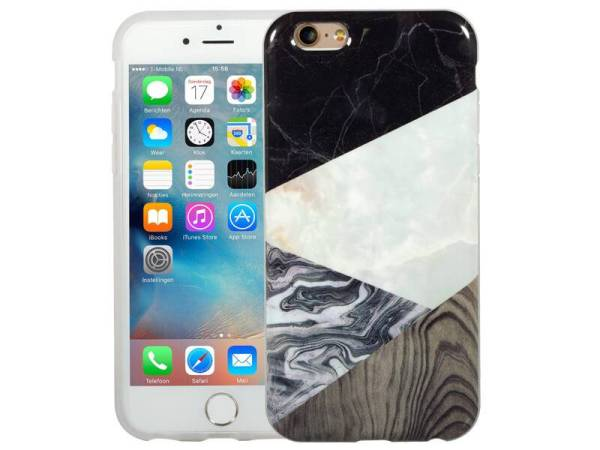 Marmer iPhone 6 / 6S Hoesje Marble Hout Combi