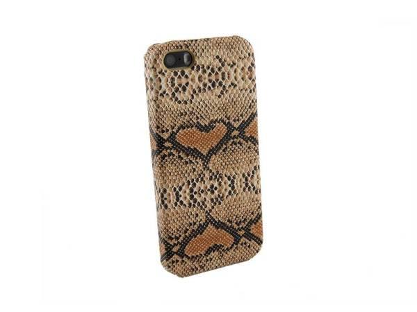 Hardcover Snap Case hoesje iPhone 5&5S Slangenprint Bruin