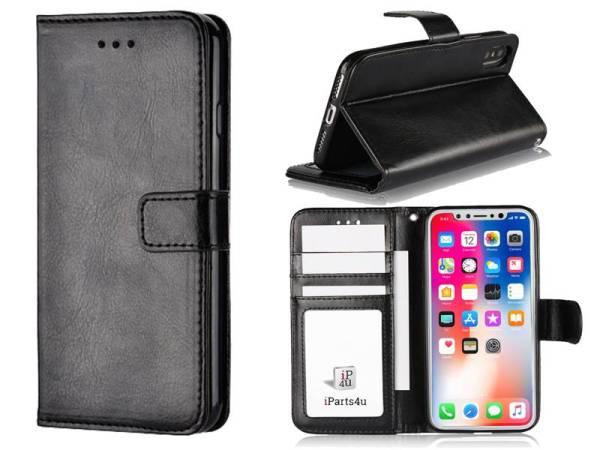 Elegante iPhone X Bookcase Hoesje TPU Zwart PU Leder