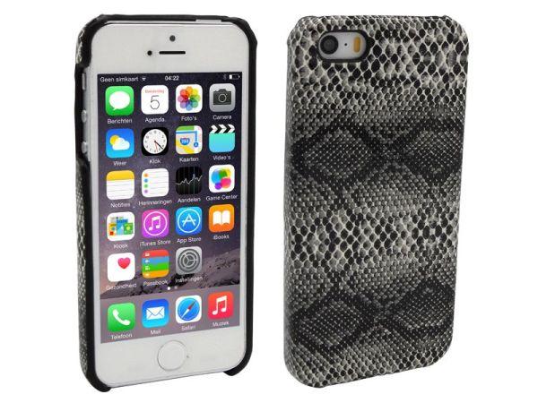 iPhone 5 en 5S Hoesje Hardcover Slangenprint Zwart