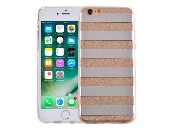 iPhone 6 en 6S Glitter Hoesje Hardcase Strepen Goud
