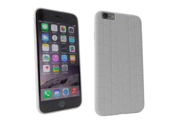 Siliconen Gel iPhone 6 en 6S Hoesje Bandenspoor Wit