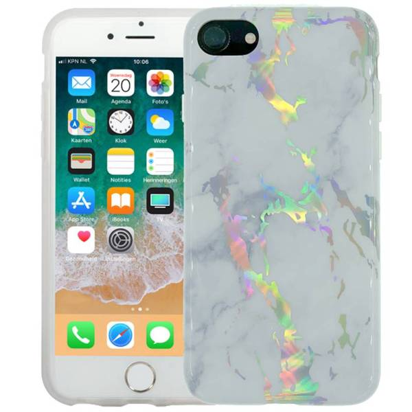Marmer iPhone 8/7 Hoesje Siliconen Marble Hologram Wit