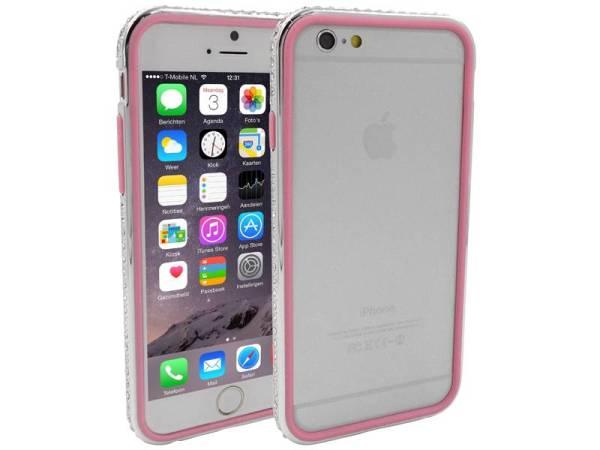 iPhone 6 en 6S Bumper Dubbel Roze Zilver Diamantjes