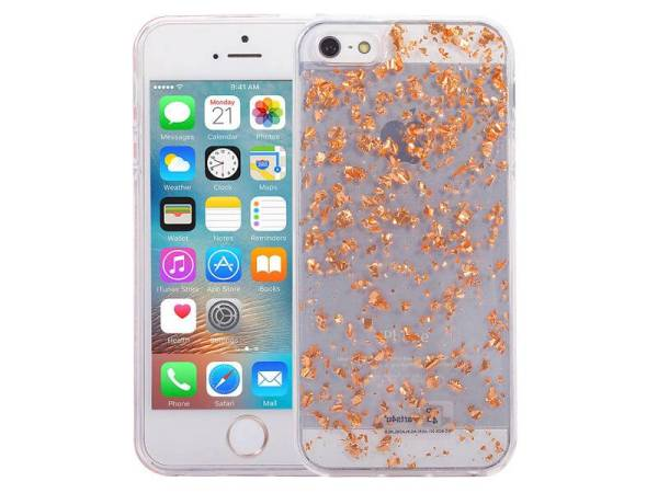 iPhone SE/5S/5 Glitter Hoesje Snippers Rose Goud