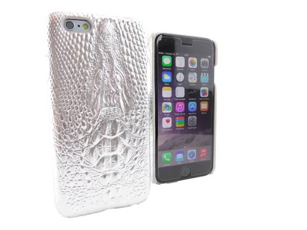 iPhone 6 en 6S Hoesje Hardcover Krokodil Zilver