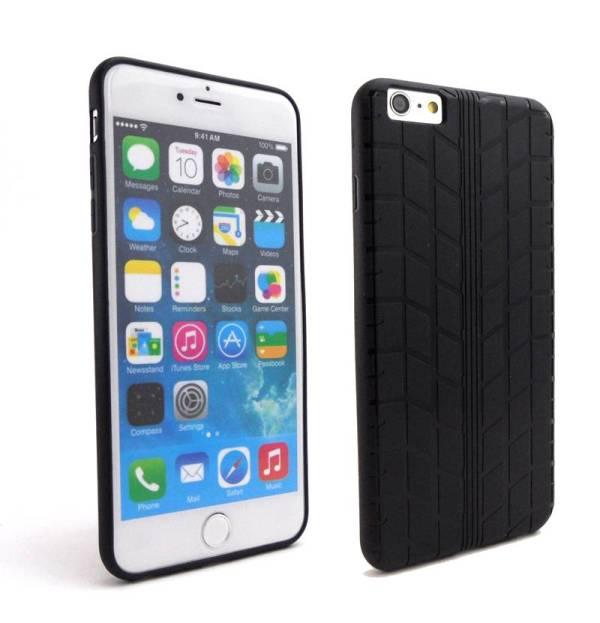 Siliconen gel iPhone 6 Plus Hoesje Bandenspoor Zwart