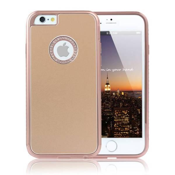 iPhone 6 en 6S Hardcase Logo Goud Diamantjes Rose