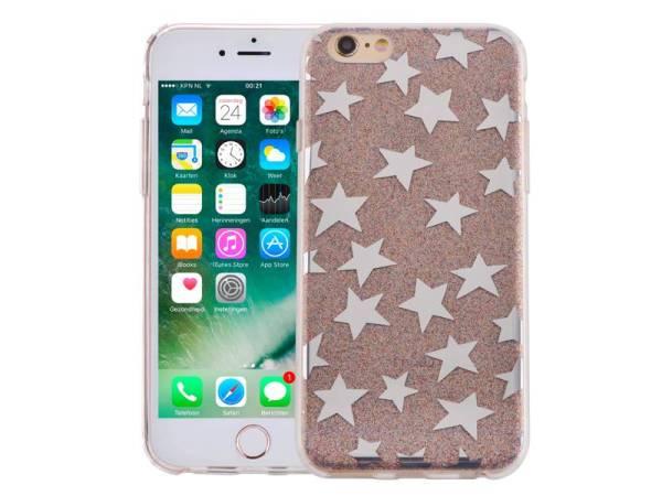 iPhone 6 en 6S Glitter Hoesje Hardcase Sterretjes Multicolor