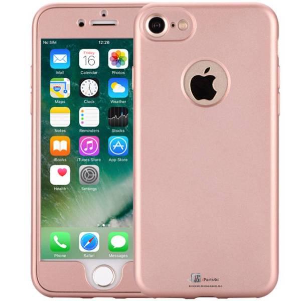 iPhone 8/7 Hoesje 360 Graden Siliconen Logo Rose Goud