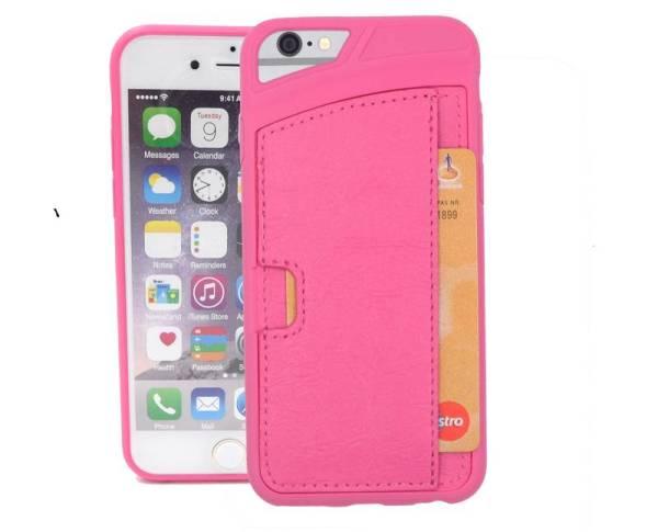 iPhone 6 en 6S Siliconen hoesje Lederen Card Pas Houder Roze