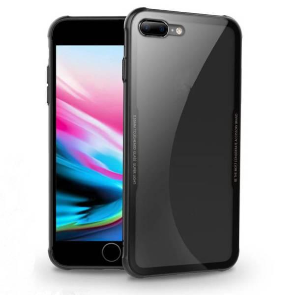 iPhone 8/7 Siliconen Case Gehard Glas Achterkant Zwart