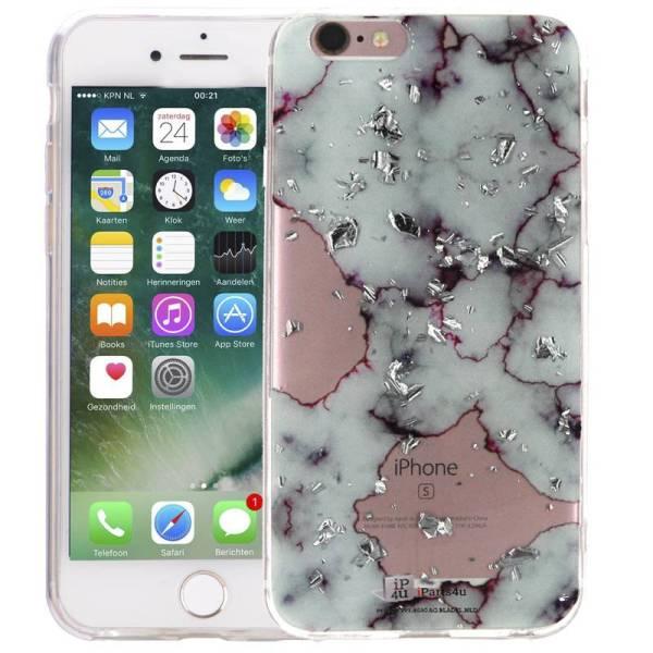 Marmer iPhone 6 en 6S Hoesje Marble Snippers Zilver Paars Siliconen