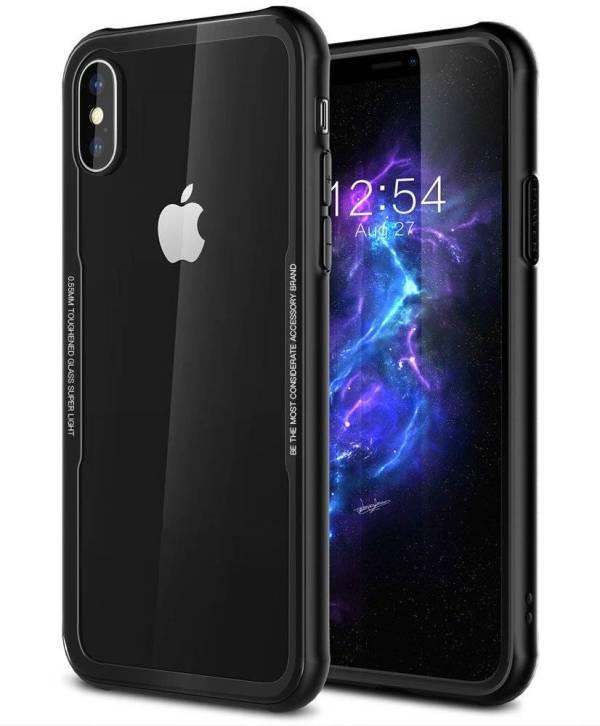 iPhone X Case Siliconen Rand Gehard Glas Achterkant Zwart
