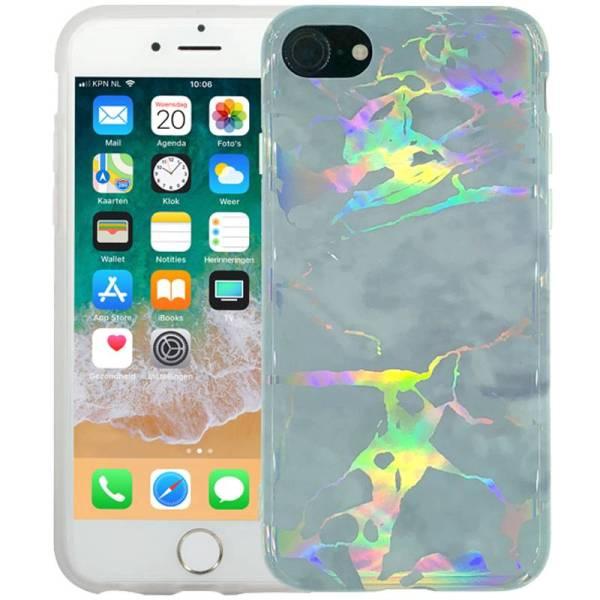 Marmer iPhone 8/7 Hoesje Siliconen Marble Hologram Grijs