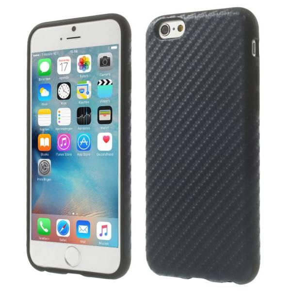 iPhone 6 en 6S Siliconen Gel Hoesje Carbon Donker Blauw