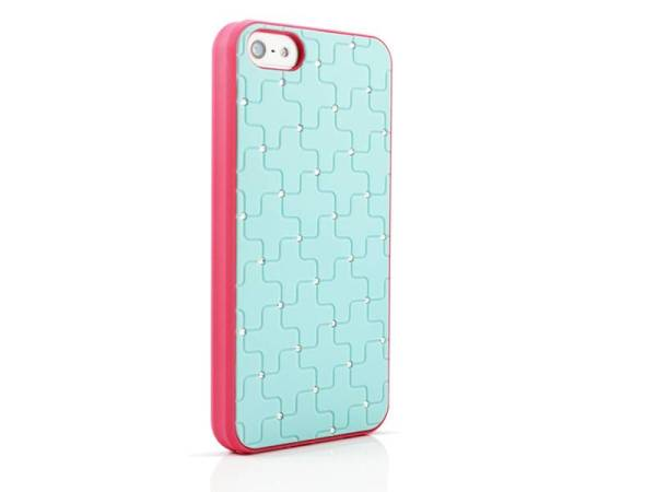 iPhone 5/5S Hardcover hoesje diamantjes LichtBlauw