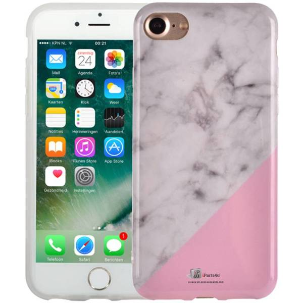 Chique Marmer iPhone 8/7 Hoesje Siliconen Marble Roze