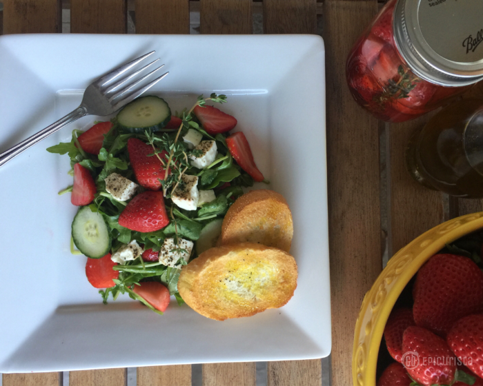 Learn Tips & Tricks How To Pickle Strawberries and Prepare Easy Classy Pickled Strawberry Pepper Feta Salad with GoEpicurista.com #FLStrawberry #SundaySupper