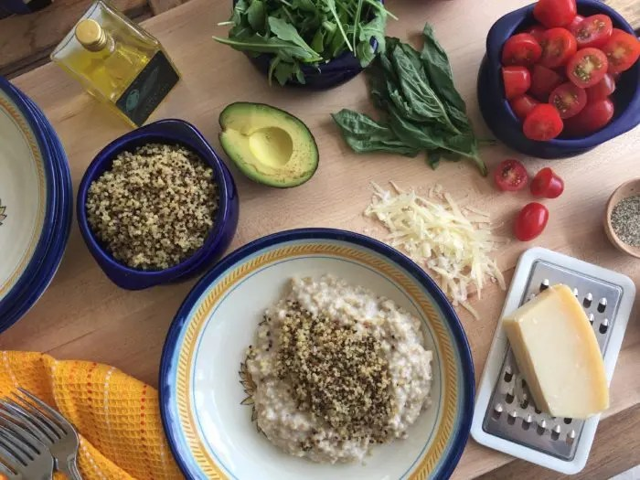 Savory Caprese Oatmeal Bowl #SundaySupper #JuneDairyMonth This Savory Oatmeal Bowl Recipe is perfect for healthy easy entertaining for brunch