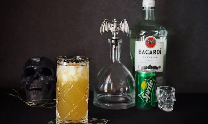 Spooky Voodoo Rum Punch Recipe with Bacardi Rum and Sprite and Tips for an Easy Tropical Inspired Halloween Party