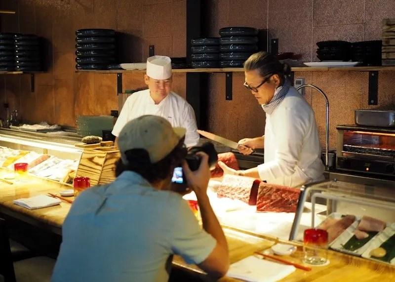Behind the scenes interviewing Iron Chef Masaharu Morimoto at his Morimoto Asia Florida restaurant in Disney Springs.