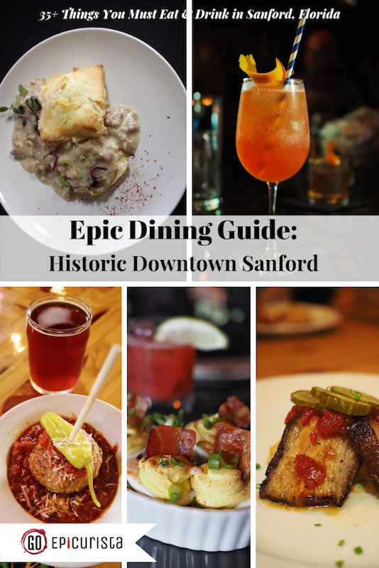 Dining Guide of Historic Downtown Sanford including 35+ Things You Must Eat and Drink from craft beer to cocktails, wine bars, chef-driven restaurants, coffee bars and artisan treats.  Make it an Epic Foodie Weekend with recommendations on where to stay and what to do between meals. Created by GoEpicurista.com