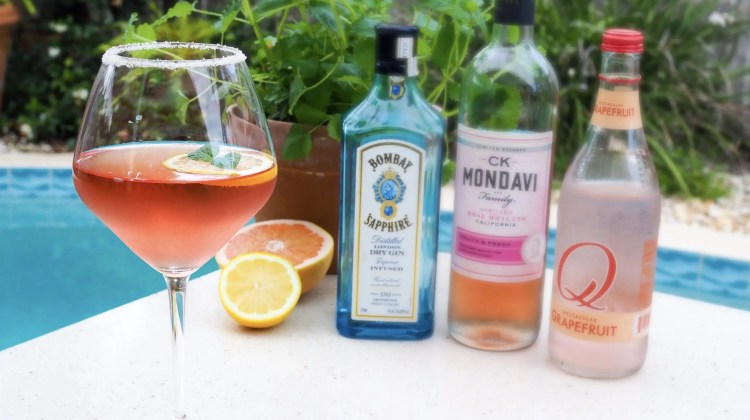 Easy Rose Moscato Citrus Spritzer cocktail to celebrate any occasion. Perfect warm weather sipper to chill and relax at home made with only 3 ingredients: gin, rose moscato wine and grapefruit soda. Cheers!