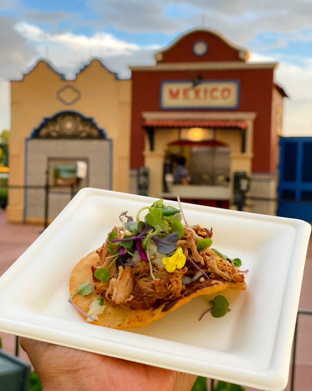 Taste of Epcot Food and Wine Festival guide Mexico pork tostada