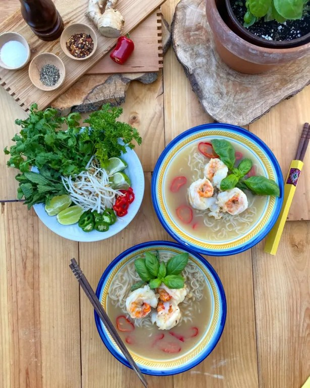 Shrimp Pho Noodle Soup from One Pot Paleo cookbook is versatile. Can be made with shrimp or chicken stock.