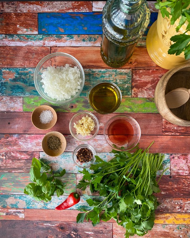 Ingredients for fresh herb sauce