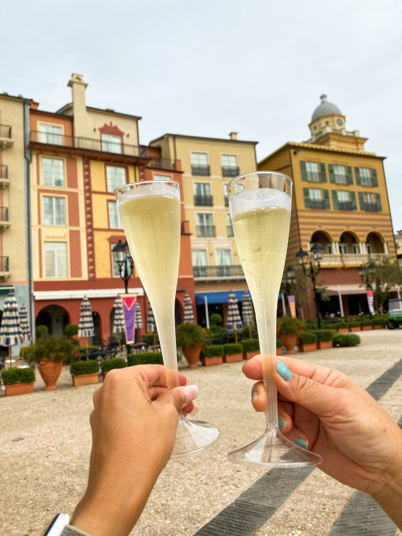 Best Orlando Resorts for epic foodie getaways includes Universal Orlando Resorts Prosecco in Portofino Bay Hotel