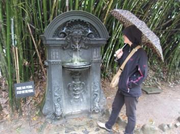 Allison with old water fountain in Botanical Gardens in Rio de Janeiro