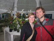 Allison and Isaiah with orchids in Botanical Garden of Rio de Janeiro