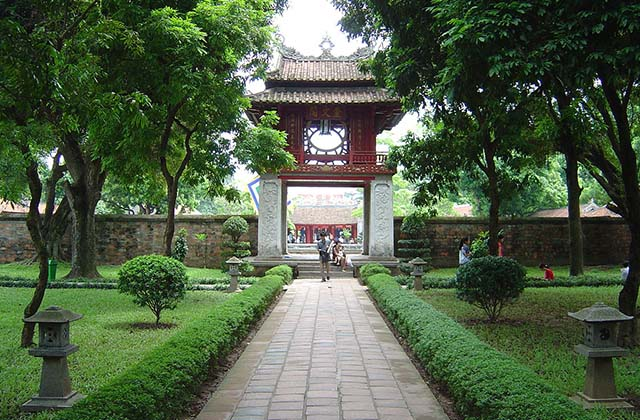 The Temple of Literature is a Temple of Confucius in Hanoi, northern Vietnam. The temple hosts the Imperial Academy, Vietnam's first national university. The temple was built in 1070 at the time of Emperor Lý Thánh Tông. (Hanoi Attractions)
