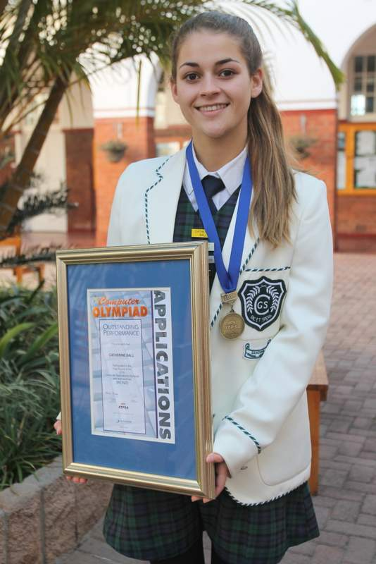 ONE CLICK BEYOND: Clarendon High School matric pupil  Catherine   Ball  is the first pupil from Clarendon to make it into the final round of the annual Computer Applications Technology Olympiad. She placed third Picture: SARAH KINGON