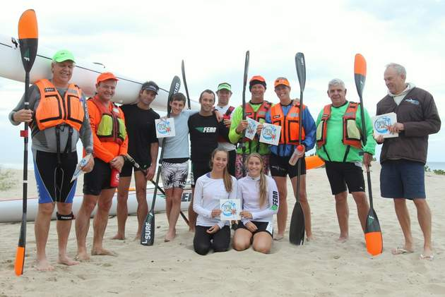 FOR DARAM: EL Surf Lifesaving Club and Border Canoe Club paddlers who helped raise funds and awareness for ocean conservation Picture: SARAH KINGON