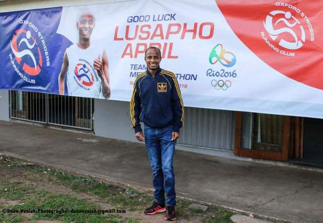 HOMEGROWN TALENT: Oxford Striders Running Club hosted a special presentation for  Lusapho   April  last week during their time- trial, where they wished him well for his marathon event at the Rio Olympics next month Picture:DEAN VENISH