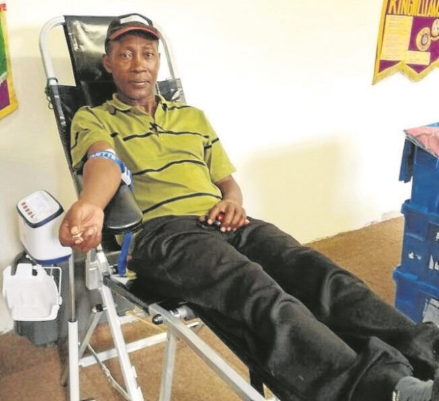FOR A GOOD CAUSE: Desmond Coetzee donated his first pint of blood during the blood drive as a Lion during the event hosted by the organisation Picture: MARLENE MOSES