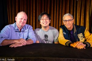 Michael Colleary, Freddie Wong and Mike Werb on stage at the Angel City Brewery
