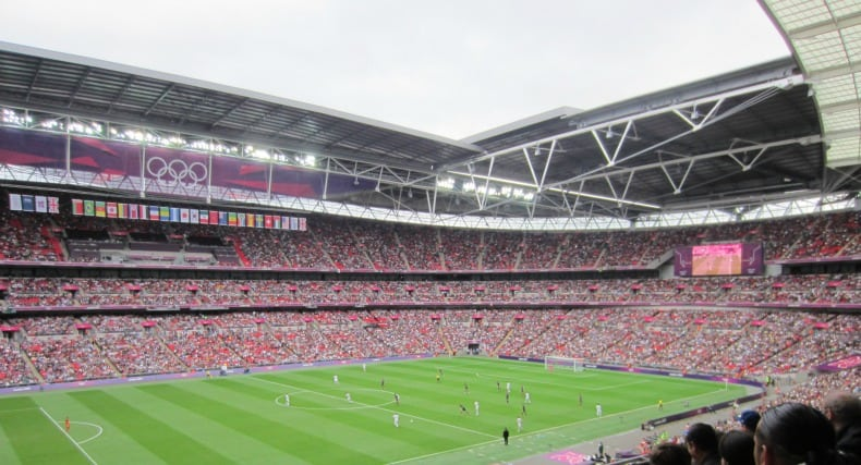 Wembley Stadium in London England watching the semi finals football match in the Olympics