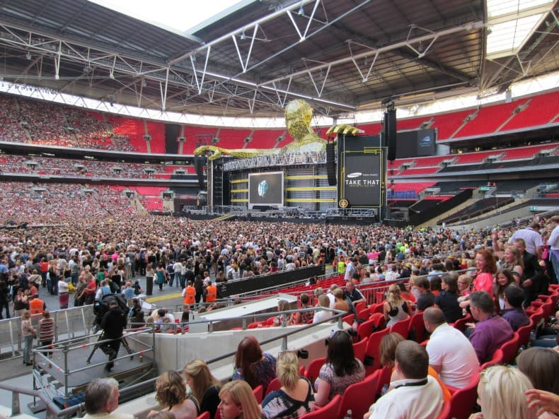 Wembley Stadium in London England watching Take That concert
