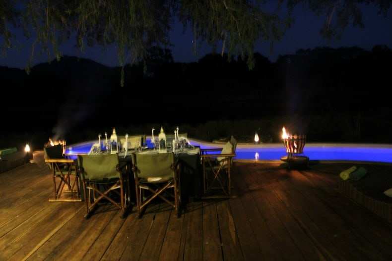 Dinner on the deck of the Chongwe River House