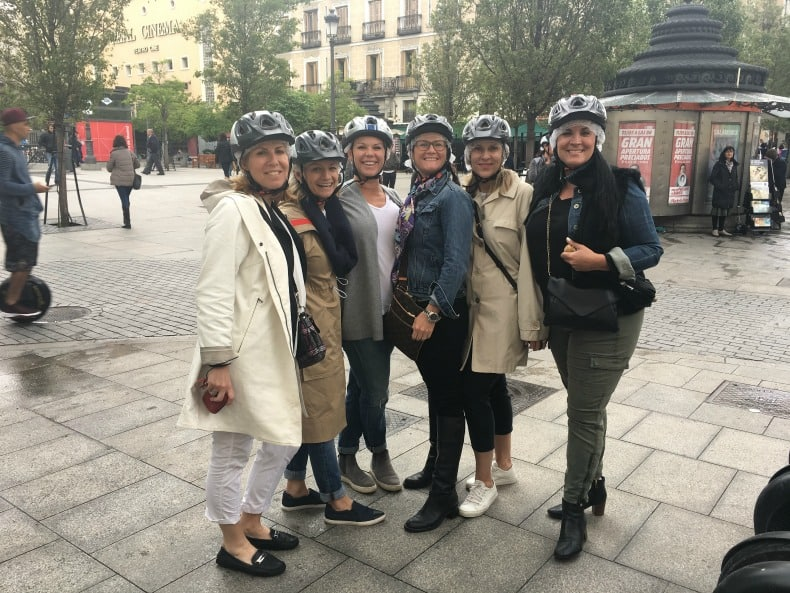 Hairnets and helmets are on in preparation of our Segway tour by Madrid Segway in Madrid