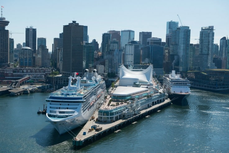 Two cruise ships at the port of Vancouver ready for Alaskan cruises from beautiful Vancouver