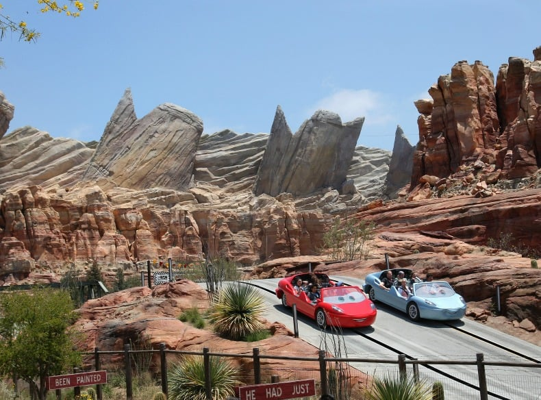 Radiator Springs Racers, an exciting family friendly ride at Disney California Adventure, an amusement park.